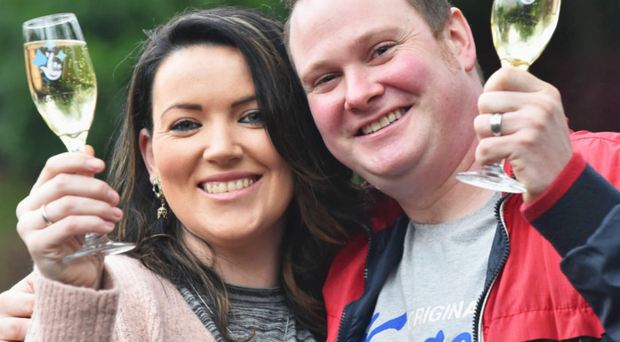 Stephanie Harkin (28) and her husband Kieran (33) celebrate their £100,000 win yesterday