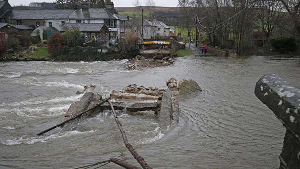 Pooley Bridge in Ullswater was washed away during flooding in Cumbria