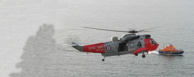Sea King Helicopter Rescue 177 from HMS Gannet Prestwick Scotland
