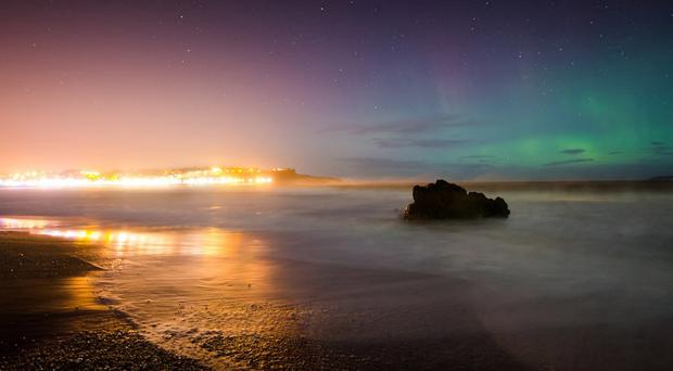 The Aurora Borealis, or Northern Lights, was captured by Enda McAuley over Ballycastle