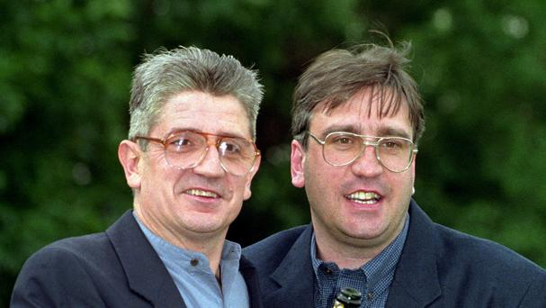 Mark Gardiner (right) and Paul Maddison celebrate winning the biggest ever National Lottery Prize of £22,590,829