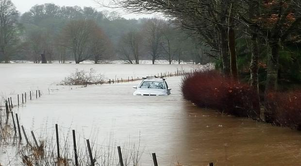 A submerged car at the River Isla near Meikleour in Perthshire
