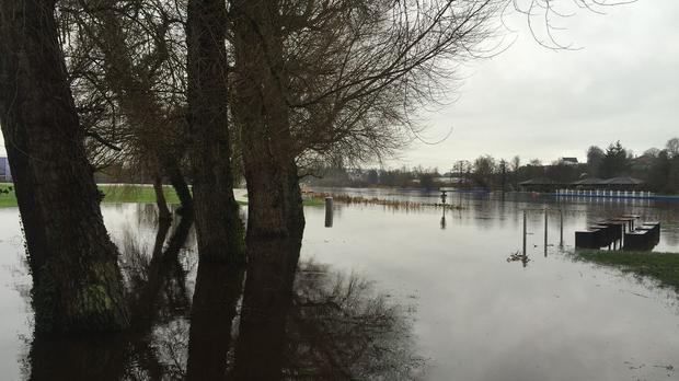 Lough Erne overflows into the grounds of the Lakeland Forum leisure complex in Co Fermanagh