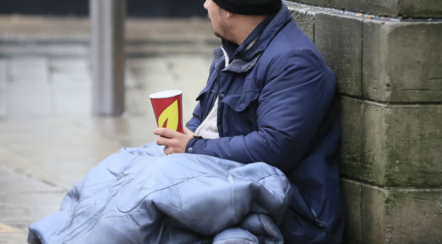 A homeless man on the streets of Belfast city centre in 2016.