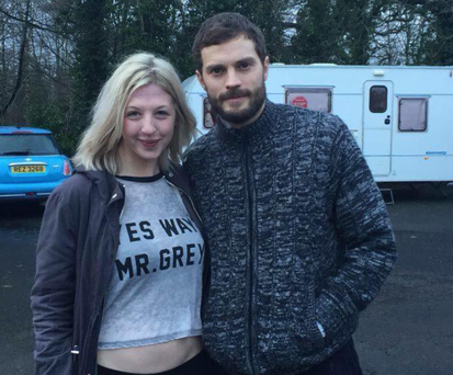 Jamie Dornan with fan Megan Bailey