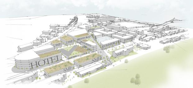 An artist's impression of how the Ebrington site will look