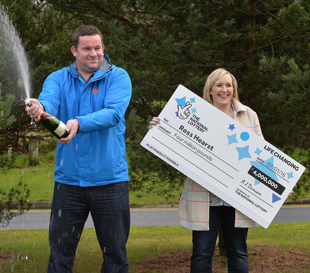 Ross Hearst and his wife Jocelyn toast his £4m windfall on the Lottery