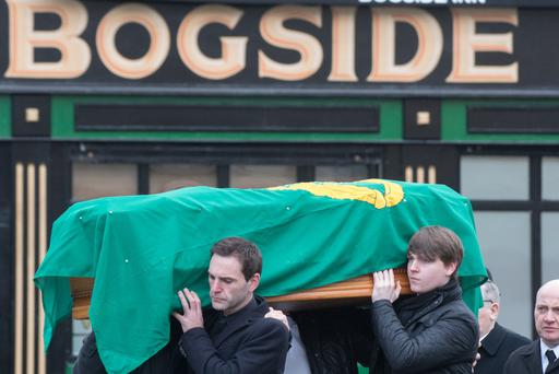 Paddy Doherty's coffin is carried through the Bogside area yesterday