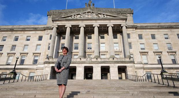 Arlene Foster outside Parliament Buildings
