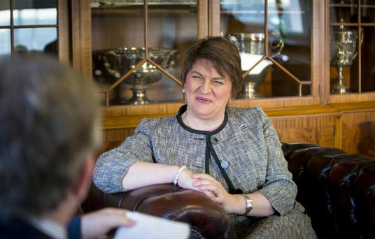 New First Minister Arlene Foster talks to our reporter Noel McAdam in Stormont's Parliament Buildings yesterday
