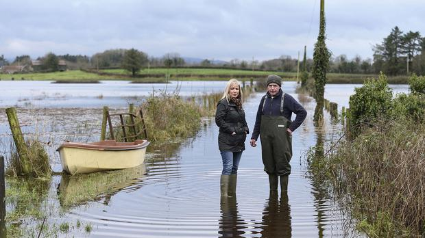 Michelle O'Neill, left, said flood funding allocated to Northern Ireland would be better spent preventing future incidences