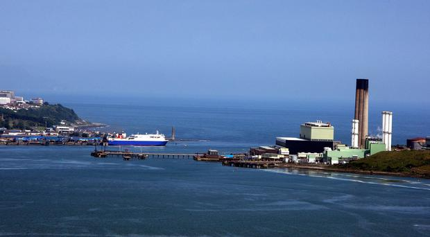 The Larne ferry terminal (left) in Co Antrim