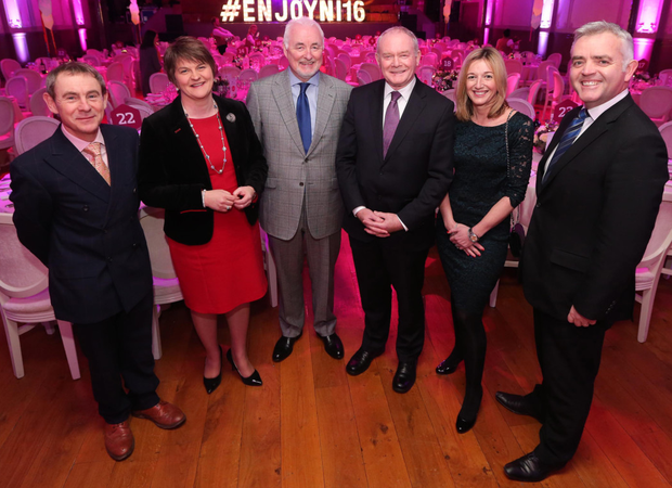 First Minister Arlene Foster and Deputy First Minister Martin McGuinness with (from left) BBC broadcaster Nigel Barden; Tourism NI chairman Terence Brannigan; Laura Briggs of BBC Good Food magazine and Enterprise Minister Jonathan Bell at the Ulster Hall showcase
