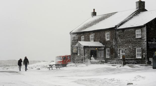 Heavy snow covered the ground at Swaledale, North Yorkshire