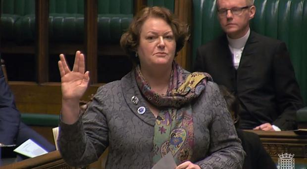 SNP MP Philippa Whitford does a Vulcan salute in the House of Commons