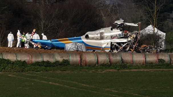 The wreckage of the helicopter after the crash which killed four people