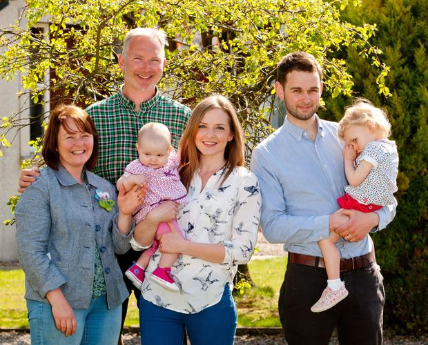 Ashers Baking Company owners Colin McArthur and his wife Karen with their son Daniel (right), general manager of Ashers, and his wife Amy (centre), together with their children Robyn (2) and six-month-old Elia. Inset: Christopher McCrudden