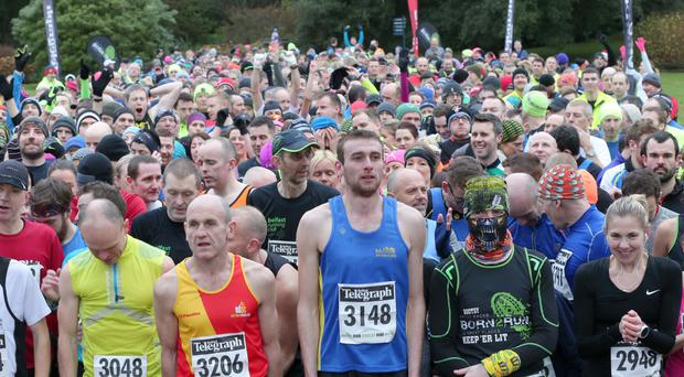 Competitors at the start of the race at Mount Stewart including eventual winner William McKee in shirt 3148