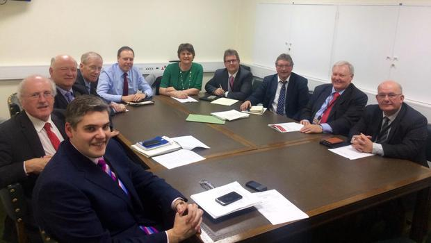 Arlene Foster with her DUP parliamentary team