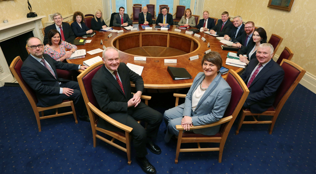 The Northern Ireland Executive (clockwise from bottom left): Deputy First Minister Martin McGuinness; Neill Jackson, OFMDFM; Junior Minister Jennifer McCann; Education Minister John O'Dowd; Culture Arts and Leisure Minister Caral Ni Chuilín; Agriculture and Rural Development Minister Michelle O'Neill; Environment Minister Mark H Durkan; Justice Minister David Ford; Employment and Learning Minister Stephen Farry; Regional Development Minister Michelle McIlveen; Social Development Minister Maurice Morrow; Finance Minister Mervyn Storey; Enterprise, Trade and Investment Minister Jonathan Bell; Health Minister Simon Hamilton; Junior Minister Emma Pengelly; Dr Malcolm McKibbin, Head of NI Civil Service; First Minister Arlene Foster