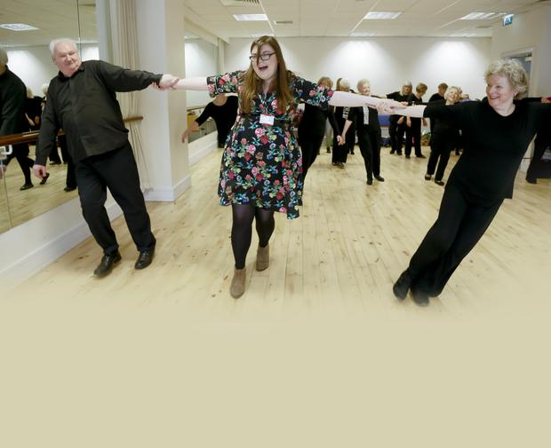 Laura Abernety joins the dancers in Lisburn