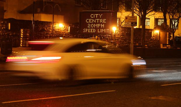 Signs for a 20mph speed limit, due to take effect in Belfast city centre from January 31