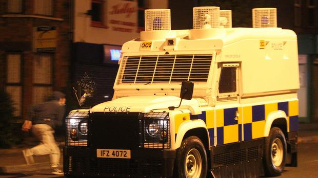 Police vehicles were damaged during the Lurgan disturbances