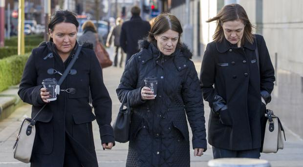 Jamie Murphy's mother Judy with her daughters Donna Murphy (left) and Lorraine Smyth at the inquest