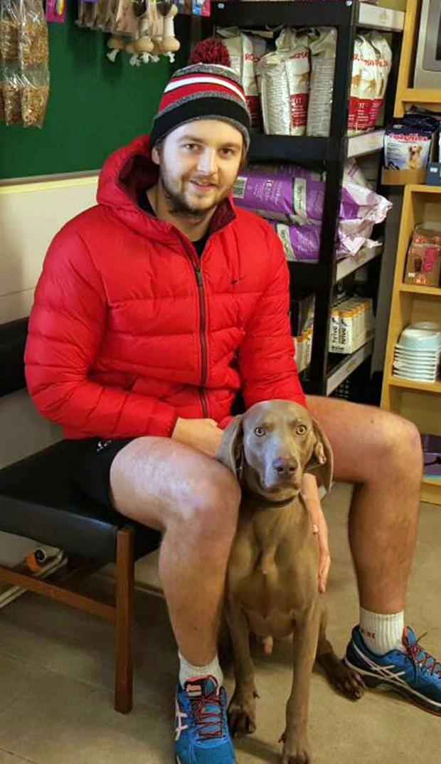 Ulster Rugby player Iain Henderson and his rescue dog Bailey at the Assisi Animal Sanctuary