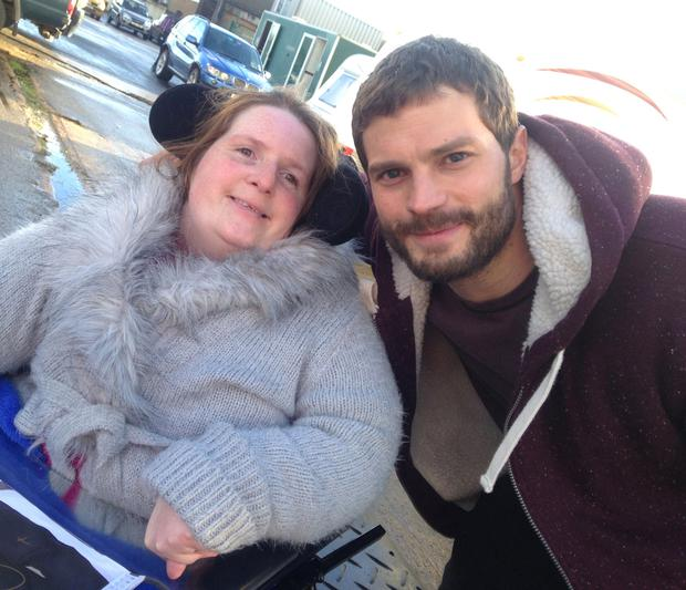 Heather Mack with Holywood actor Jamie Dornan on the set of The Fall