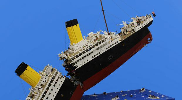A Lego recreation of the sinking of the Titanic