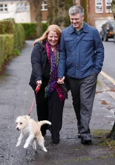 Naomi Long with husband Michael and their dog Daisy