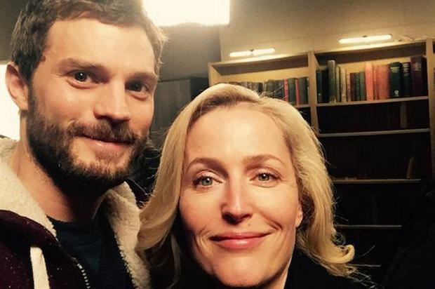 Jamie Dornan poses with Gillian Anderson after filming of the third season of The Fall ended in Belfast