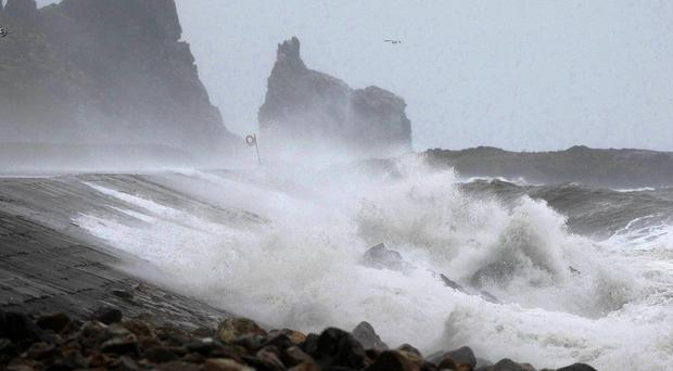 The Atlantic storm system brought winds gusting up to 130kph