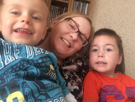 Six-year-old Thomas Manton with mum Emma and little brother Christopher (3)