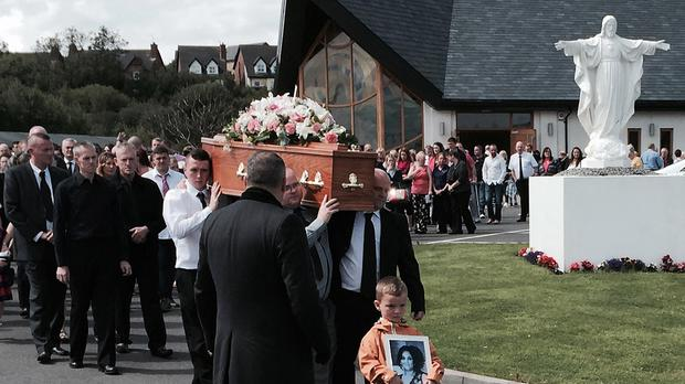 Mourners at the funeral of Jennifer Dornan