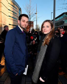 Daniel and Amy McArthur outside court
