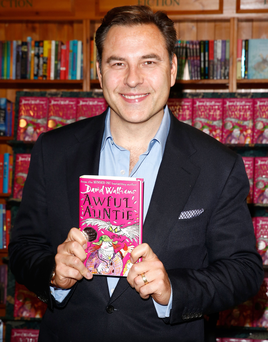 David Walliams with his Awful Auntie book