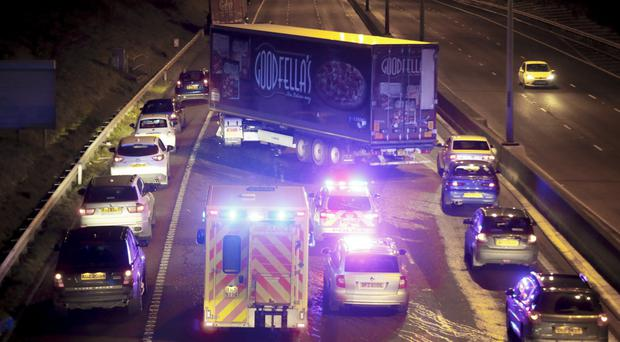 The jack-knifed lorry on the M2 last night which caused traffic disruption