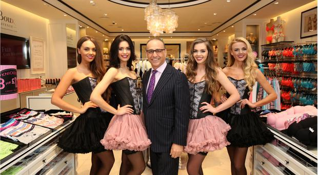 Theo Paphitis with the models at the Boux Avenue grand launch in Belfast