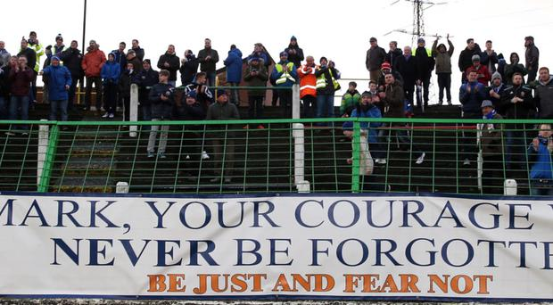 A banner at The Oval where Mark Farren's former club Glenavon beat Glentoran 4-1 on Saturday