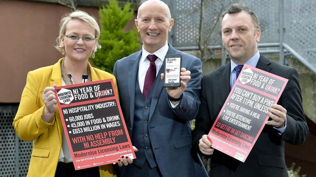 Hospitality Ulster chairwoman Olga Walls, chief executive Colin Neill and past chairman Mark Stewart (Hospitality Ulster/PA)