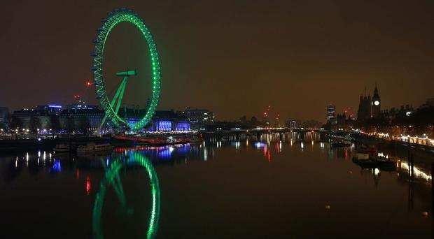 The London Eye has turned green on St Patrick's Day in previous years