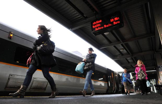 Passengers board the Belfast to Dublin Enterprise train at Central Station