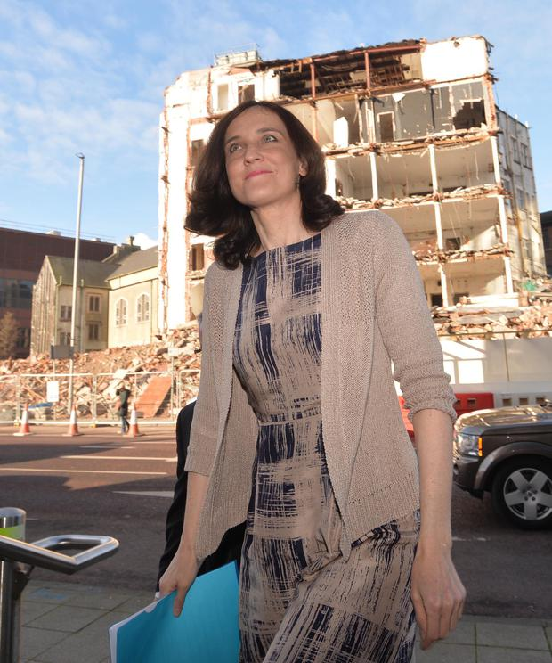 Theresa Villiers arriving for Press conference in Belfast yesterday