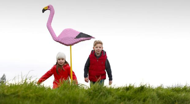 A Lego flamingo on display at the wetlands site
