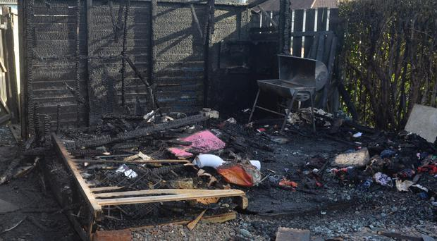 The damage caused in the arson attack at Holywood