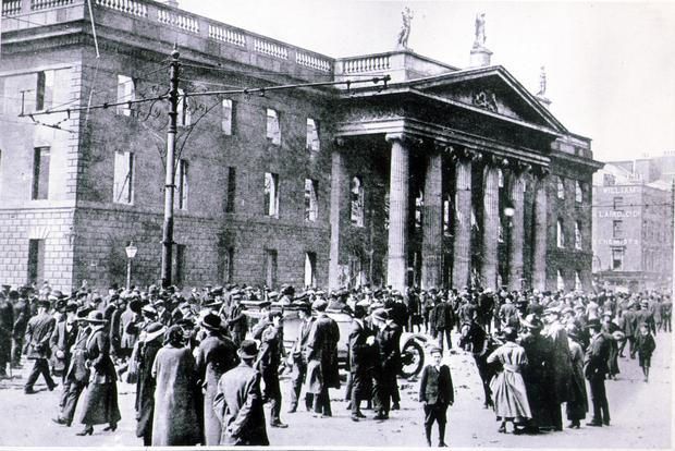 The GPO in Dublin which was seized by the rebels during the Easter Rising of 1916