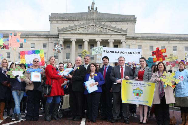Parents joined forces to hand in a petition to MLAs at Stormont demanding better services for children with Autism Spectrum Disorder