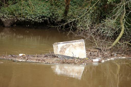 The discarded fridge in the River Lagan yesterday